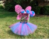 ABBY CADABBY  3 pc. Tutu Set--  Tutu, Tulle Poof Clips/Headband,  Poof Wand- Abby Cadabby Costume- Abby Cadabby tutu- Abby Cadabby Birthday