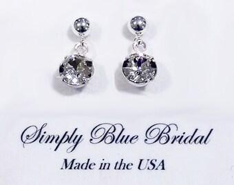 Swarovski Earring Crystal, Crystal Earrings, Single Crystal, Silver