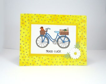 Good Luck Card, Yellow Bicycle card, bicycle note card, bike card, best of luck, goodbye, graduation, greeting card, yellow blue white