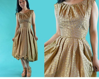 Vintage 50s Dress / Gold Taffeta 1950s Party Cocktail Dress / Pleated Bateau Neckline Dress / Sleeveless High Waist Full Skirt Dress XS / S