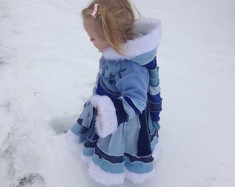 CUSTOM DEPOSIT  'Snowflake Princess ' Girls Pixie Coat