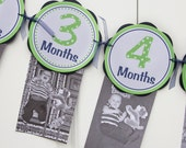 Monthly Photo Banner - 1 Month through 12 Months Banner - Monthly Banner - Baby Monthly Banner - First Year Banner - Green & Navy Blue