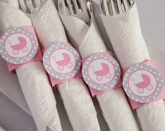 Napkin Rings - Pink Carriage Theme - It's a Girl Baby Shower Decorations in pink and grey (12)