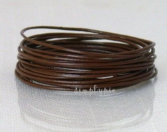 1mm Brown Round Leather Cord 15 Feet