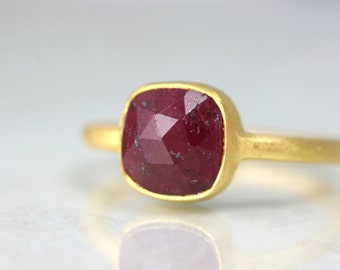 Red Ruby Ring - July Birthstone Ring - Square Cut Ring - Stacking Ruby Ring - Cushion Cut Ring - Ruby Gemstone Ring - Ruby Ring