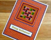 Happy Halloween Handmade Cross Stitch Card in Black, Orange, Green and Purple Rail Fences Design