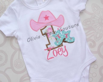 Cowgirl Birthday Shirt,  Embroidered Applique Shirt or Bodysuit