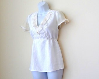 White Linen Blouse - Feminine - Pullover - Short Sleeve - Lace - Romantic - Recycled - Silk Chiffon - Retro Victorian Style