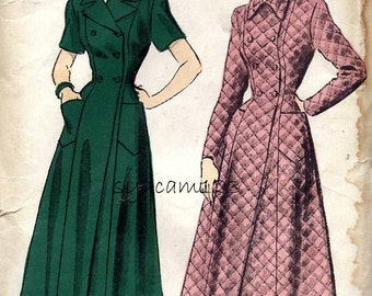 Vintage 1940s Double Breasted Housecoat or Robe Pattern Floor or Calf Length 1949 Advance 4991 BUst 30 UNCUT