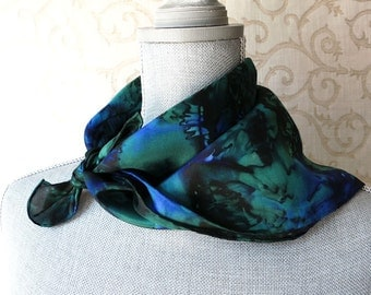 Silk Bandana Scarf Hand Dyed in Forest and Midnight
