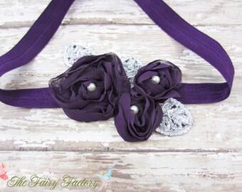 Eggplant Purple Flower Headband, Chiffon Flower Trio w/ Pearls Headband or Hair Clip, Flower Girl Headband, Baby Child Girls Headband
