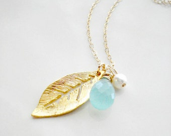 Gold Leaf Necklace Wedding Jewelry Seafoam Green Gold Leaf Pendant Chalcedony Necklace Modern Jewelry  Everyday Jewelry