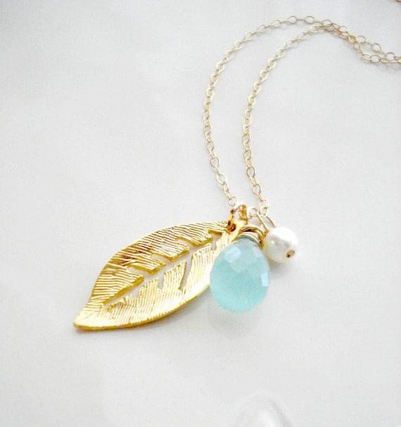 Gold Leaf Necklace Wedding Jewelry Seafoam Green Gold Leaf Pendant Chalcedony Necklace Modern Jewelry  Everyday Jewelry