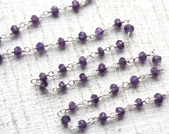 1 Foot Faceted Amethyst Gemstones and Sterling Silver Wired Chain // Gemstone Jewelry Chain