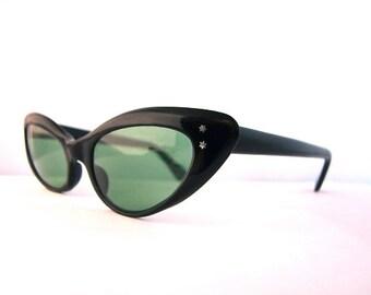 50's Cat Eye Sunglasses Women's Vintage 1950s Black Frames Made in France