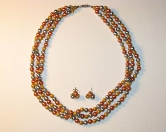 CLEARANCE SALE - Vintage Multistrand Metal Bead Necklace and Pierced Earrings Demi Parure (N-1-5)