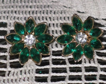 Vintage Emerald Green and Clear Rhinestone Floral Earrings  (E-1-7)