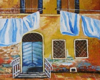 Trip to Venice  - Original acrylic painting.