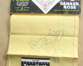 Ready to Embroider Vintage Tray Cloth - Pre-Printed Embroidery - Printed Damask Rose Design Made in Ireland
