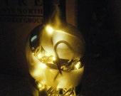 Frosted Mead Bottle With Swirls -- Wine Bottle Light -- Wine Bottle Lamp - Frosted Alcohol Bottle