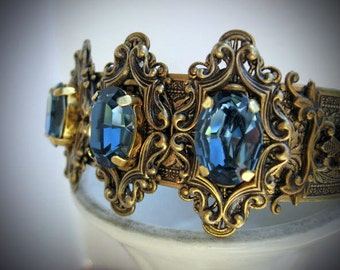 Crystal cuff Bracelet - Vintage Style Antique Brass Swarovski Blue Crystal cuff Bracelet - B240