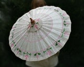 Pink Flower Parasol - Parasol with Stylized Pink Lilies