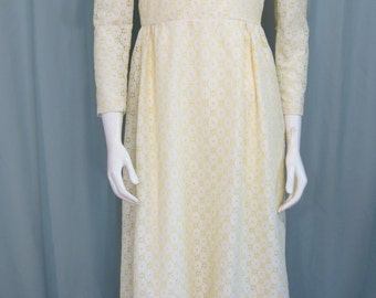 1960s white and yellow eyelet Princess dress size small