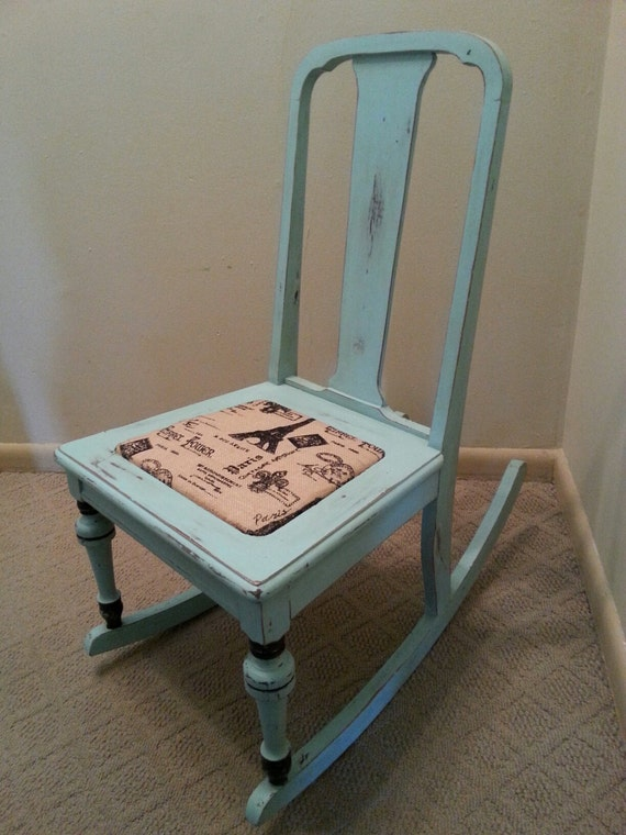 blue shabby chic rocking chair paris rocking by villagefrippery. Black Bedroom Furniture Sets. Home Design Ideas