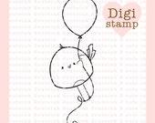 Balloon Birdie Digital Stamp for Card Making