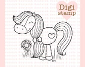 Sweet Horse Digital Stamp for Card Making, Paper Crafts, Scrapbooking, Hand Embroidery, Invitations, Stickers, Coloring Pages