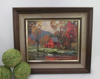 vintage '60s Autumn Reflections framed litho art print. Red barn, fall leaves foliage river scene marked LITHO IN USA, Shumaker. Orange gold
