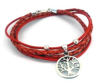 Tree of Life - Sterling Silver and Mixed Leather - Eternal love Bracelet