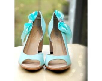 Shoe Clips Aqua Blue. Sprakly White Bow. Shiny Rhinestone Satin Ribbon. Wedding Bridal Bride Couture, More Teal Sage Pink Black Ivory Purple