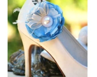 Wedding Shoe Clips Blue. Red White Ivory Purple Flower. Pearl Feather. Handmade Couture Shoe Clip. Bridesmaid Elegant Gift. Satin Brooch Pin