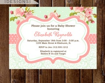 Shabby Style Mint Background with Pink Roses Baby Shower Invite - PRINTABLE INVITATION DESIGN