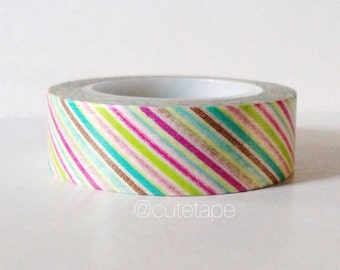Thin Color Stripe Washi Tape Paper Crafting