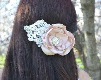 Wedding Hair Fascinator Flower Lace Bridal Headpiece rhinestones vintage lace comb blush pink, ivory, champagne satin Petals handmade flower