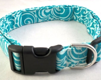 Summer Breeze Bright Teal Blue and Light Aqua Floral Swirl Dog Collar Lilly Vera Inspired