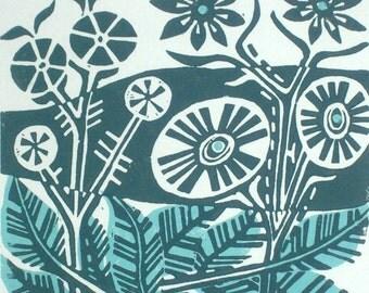Duet Original Linocut Relief Print