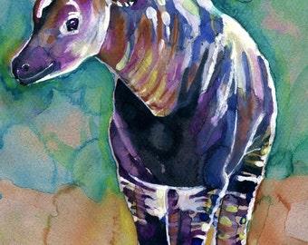 Okapi Watercolor Painting Print, Artist-Signed