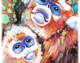 POSTER SIZED Snub-nosed Monkeys Watercolor Painting Print, Artist-Signed