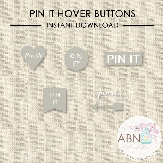 INSTANT DOWNLOAD - Social Media Icons - Pinterest Hover Buttons - Grey Set - By A Blissful Nest