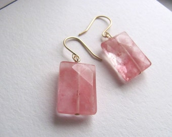 Salmon grapefruit pink quartz drop earrings on 14k gold fixtures, faceted gemstone beads