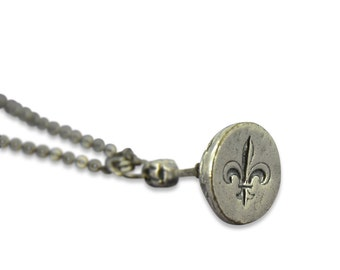 Wax Seal Necklace Fleur de Lis Seal Stamper Sterling Silver Bronze Necklace by Gwen Delicious Jewelry - Usable Seal Stamp