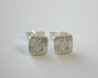 Square Fine and Sterling Silver Heart Burst Stud Earrings