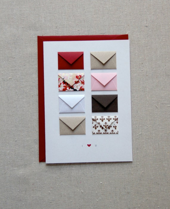 I Love You - Tiny Envelopes Card with blank notes and confetti