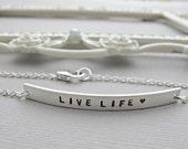 Personalized Bracelet, Hand Stamped Jewelry, Silver Bracelet, SILVER ID BRACELET, Gift for Mom, Silver bar Bracelet, Silver Bar