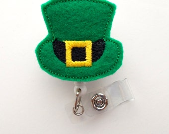 St. Patrick's Day Leprechaun Hat  - Name Badge Holder - Cute Badge Reel - Nurse Badge Holder - Nursing Badge Clip - Teacher Badge Reel