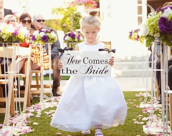Here Comes the Bride Sign and/or And they lived Happily ever after. Featured in You and Your Wedding 8 X 16 in.  Ring Bearer, Flower Girl.