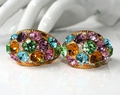 Vintage 1980s BLANCA Multi Color Rhinestone Earrings